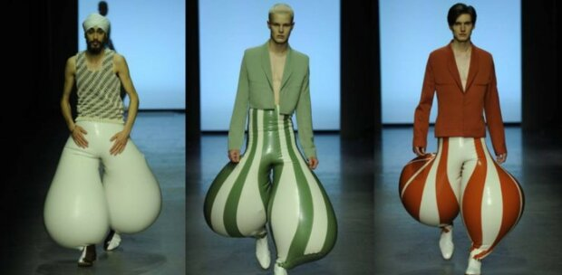 Nové latexové kalhoty od módního návrháře vzbudily na internetu rozruch