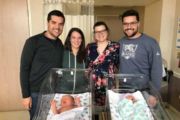 Dvojité štěstí: dvojčatům se neplánovaně narodily děti ve stejný den