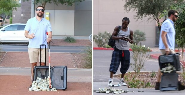 """Muž se vydával za slepce a """"omylem"""" upustil kufr plný peněz. Podívejte, co následovalo. Super fór"""